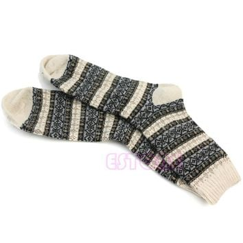 1 Pair Men's Warm Winter Thick Wool Mixture Angora Cashmere Casual Dress Socks-Y107