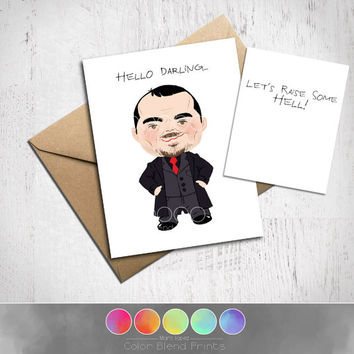 Supernatural Crowley Card, Let's Raise Some Hell, Approximately 5 x 7 Blank Card, Kraft Envelope, Funny Birthday Card, Gag Gift, Original