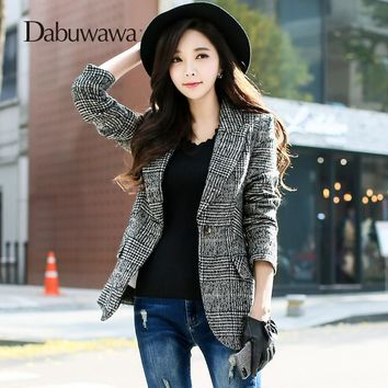 Dabuwawa Black Spring Women Suit Vintage Plaid Coat Slim Woolen Outerwear Female Formal Jacket