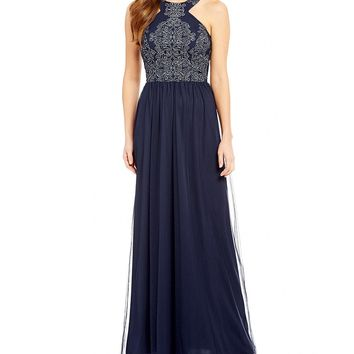 Xtraordinary Caviar Beaded Bodice Long Dress | Dillards