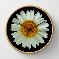 White Daisy on Black Wall Clock by Paul Stickland for StrangeStore