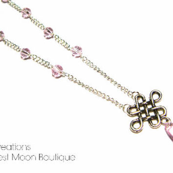 Viking Necklace, Celtic Knot Jewelry, Pink Crystal Beaded Necklace, Norse Nordic Pagan, Unisex Jewelry, Silver Y-Necklace, Artisan Made