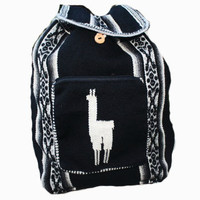 Black Tribal Llama backpack