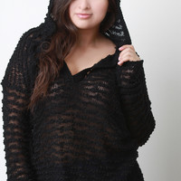 Loose Boucle Knit Hooded Sweater