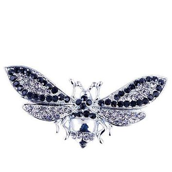 Insect Brooch Metal Rhinestone Brooch Moth Shape Silver Ground Brooch Clothes Decoration 2857mm