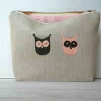 Owl Make-Up bag, Cosmetic Pouch, Linen, Mom gift, pencil pouch, medicine bag,