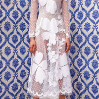 White Orchid Applique Dress by Tata Naka - Moda Operandi