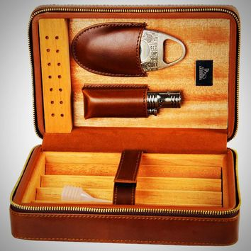 Leather Cedar Lined Cigar Case Humidor with Cutter Lighter Humidifier Set