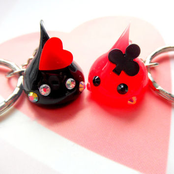 Queen of Hearts Playing Cards, Hoppe Chan Poker Charm, Kawaii Charms, Gamble, Cute Keychain, Tamagotchi, Nintendo 3DS, PS Vita, Poker Gift