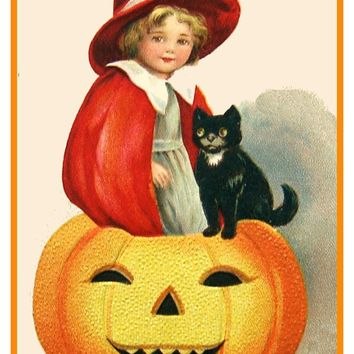 Little Girl Pumpkin Cat Halloween Counted Cross Stitch or Counted Needlepoint Pattern