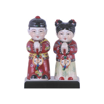 """Cute Set of Porcelain Man and Woman Greeting Chinese Figurine 9"""""""