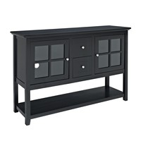 "52"" Black Wood Console Table TV Stand"