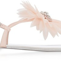 Giuseppe Zanotti Annemarie Pink Patent Leather Flat Sandals w/Flower