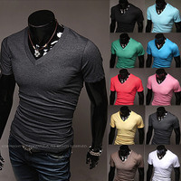 Simple Color Slim Fit Men Fashion V Neck Tee SOS