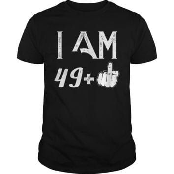 50 Years: 49 + middle finger shirt Premium Fitted Guys Tee