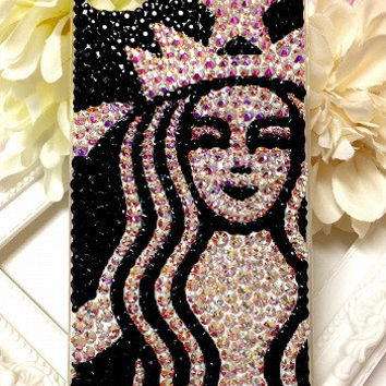 iPhone4 Case - black and crystal aurore starbucks - SWAROVSKI
