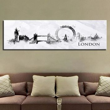 Canvas Print Banner Poster 1 Piece Watercolor Skyline City Paintings London Black White Pictures Home Wall Art Living Room Decor