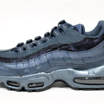 Nike Women's Air Max 95 Premium Metallic Blue/Navy Running Shoes 807443 900