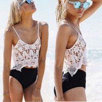 SIMPLE - Hollow Bandage Lace Floral Sexy Strap V Neck Sexy Erotic Top Women Tank Vest b4654