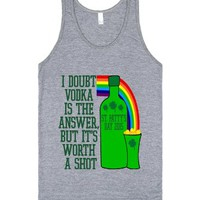 Vodka is the Answer St. Patty's Day-Unisex Athletic Grey Tank
