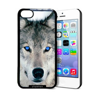 Shawnex Blue Eyed Wolf Face Wolves iPhone 5C Case - Thin Shell Plastic Protective Case iPhone 5C Case
