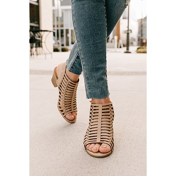 Take Me There Cage Heeled Sandals (Camel)