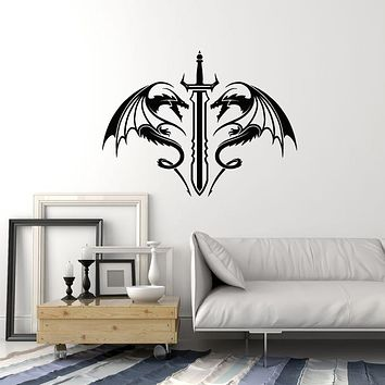Vinyl Wall Decal Swords Dragons Fantasy Kids Room Man Cave Interior Stickers Mural (ig5963)