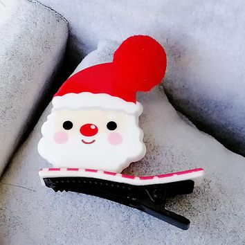Acrylic Christmas duck duckbill folder cute hair ball baby clip hairpin Christmas gifts Santa