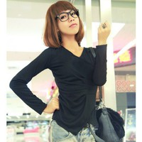 Black Long Sleeve Women Autumn V-neck Cotton T-shirt One Size @WH0377b $7.99 only in eFexcity.com.