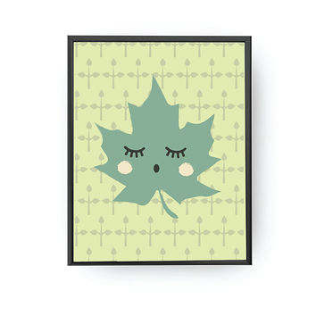 Maple Leaf Print, Green Pattern, Kids Print, Cute Plant Print, Kids Room Decor, Children Education, Kids Art, Playroom Art, Nursery Decor