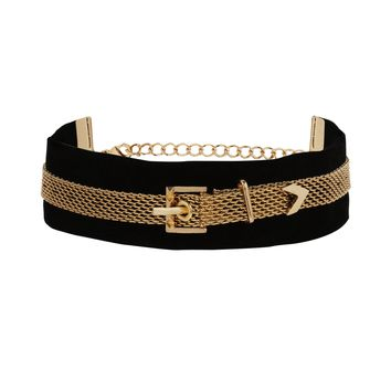 Belt It Out Choker in Black and Gold