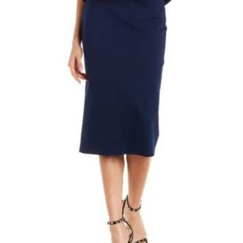 Navy Bodycon High-Waisted Midi Skirt by Charlotte Russe