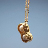 Peanut with fresh water pearls Charm Necklace in Gold
