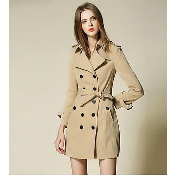 High quality Burdully Trench coat women 2016 British Style B brand design trench outerwear Mid long elegant female overcoat