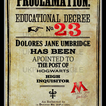 Harry Potter Proclamation, Educational Decree 23, dolores umbridge, minimalist, wall decor, typography, Modern, Classic