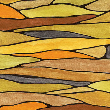 original mixed media painting - strata - pen & ink, gouache, acrylic - art for a cause - black gold green yellow rust orange pewter - 9 x 12
