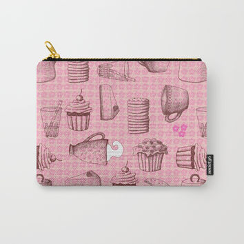 Breakfast - pattern Carry-All Pouch by Krusidull Illustrations