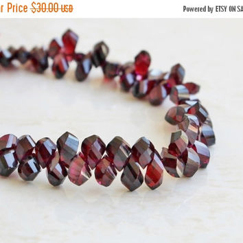 SALE 31% Off Garnet Gemstone Briolette Red Maroon Faceted Twist Teardrop 8 to 9mm 33 beads 1/2 strand