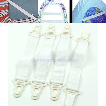 E74 4 x Bed Sheet Mattress Cover Blankets Grippers Clip Holder Fasteners Elastic Set -PY-PY