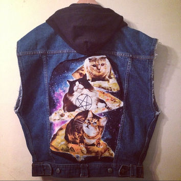 Men's Denim Vest with Hood, Satanic Cats, and Pizza