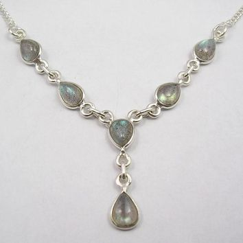 Silver Blue Fire Labradorite Drop Gem necklace