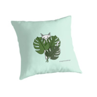 'Cat hidden in the palm leaves' Throw Pillow by SagaciousDesign