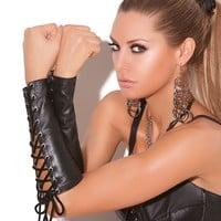 Leather Lace Up Gloves