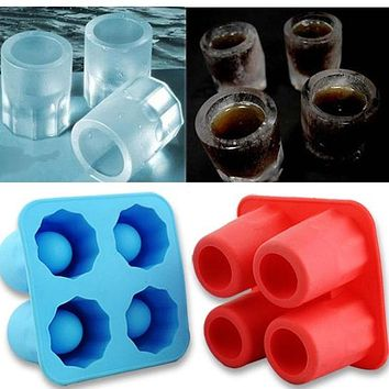 2016 New Cool 4 Cup Shape Rubber Shooters Ice Cube Shot Glass Freeze Mold Bar Bear Tool Random Color