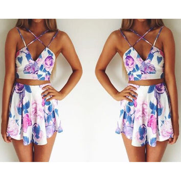 SEXY PRINTING SLEEVELESS TWO-PIECE