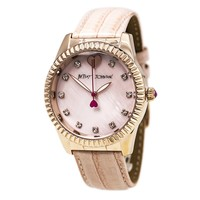 Betsey Johnson BJ00436-05 Women's Crystal Accented Pink MOP Dial Pink Leather Strap Watch