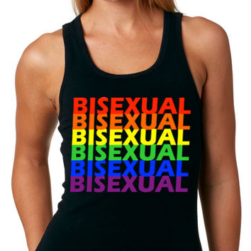 BISEXUAL TANK Top Bisexual Rainbow Pride Christmas Gift Bisexual T-shirt - Bisexual Love - Black Ribbed Stretch Tank - Women - All Gay Tees