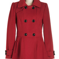 ModCloth Military Long Long Sleeve Double Breasted You Can Say Chat Again Coat in Red