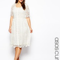 ASOS CURVE Premium Lace Midi Dress In Crochet Lace - Cream