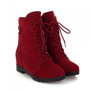 Women's Suede Leather Lace Up Mid Calf Non-Slip Boots